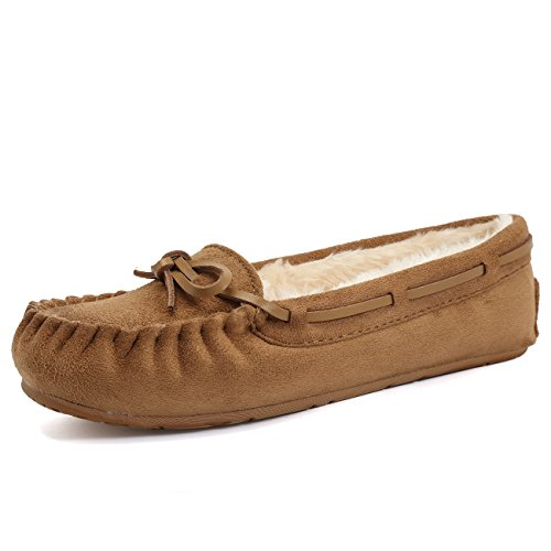CIOR Fantiny Women's Slipper Suede Faux Fur Lined Indoor & Outdoor Moccasins Slip On-U118WMT005-tan01-39 by CIOR