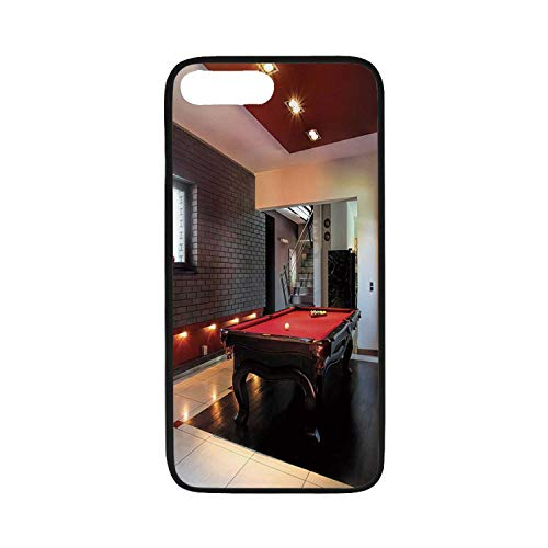 Modern Decor Rubber Phone Case,House with Snooker Table Hobby Pool Game Flat Furniture Leisure Time Print Compatible with iPhone 8 Plus