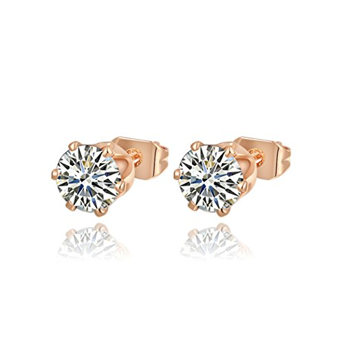 Price comparison product image Duo La Elegant Simple 18K Rose Gold Plated Cubic Zirconia Lady Charm Stud Earrings