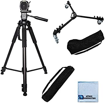 72 Inch Elite Series Full Size Camera Tripod for DSLR Cameras//Camcorders Elite Series Professional Universal Tripod Dolly with One-Step Easy Lock System /& eCostConnection Microfiber Cloth