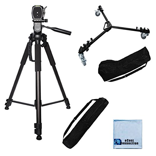 72-Inch Elite Series Full Size Camcorder Tripod + Elite Series Professional Universal Tripod Dolly w/ One Step Easy Lock & Locking Wheels for Canon EOS C300, C500 4K Cinema Camera, XA10 HD Professional, XA20 HD, Canon XA25 Professional HD, XF100 HD Professional, XF105 HD Professional, XF300 Professional Camcorder, Canon XF305 Professional Camcorder, XH-A1s 3CCD HDV Camcorder, XH-G1 3CCD HDV Camcorder, XH-G1s 3CCD HDV Camcorder, XL2 1/3-Inch 3-CCD Camcorder + 2 Carrying Case + Microfiber Cloth