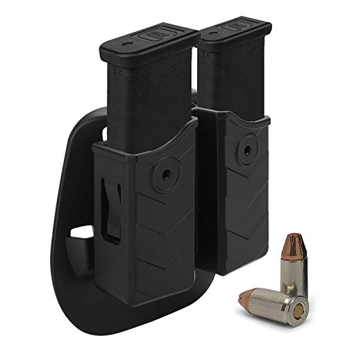 HQDA Double Magazine Pouch: Fits Glock 17 19 22 G23, Mag Holster, Universal 9mm/.40 Dual Stack Holder Fit Taurus CZ Sig Sauer Beretta H&K S&W Browning Walther Colt HS Springfield CANIK Magnum Handgun ()