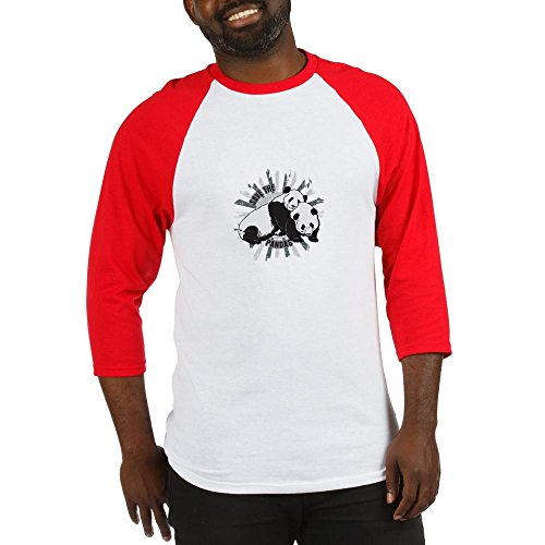 CafePress Save The Pandas Baseball Jersey Cotton Baseball Jersey, 3/4 Raglan Sleeve Shirt Red/White