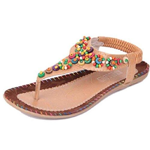 Tongshi Zapatos de mujer sandalias de la manera de Bohemia del sabor Nacionales zapatos de las mujeres Beige