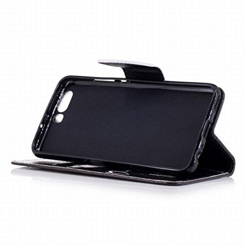 LEMORRY Huawei P10 Custodia Pelle Cuoio Portafoglio Flip Borsa Sottile Bumper Protettivo Magnetico Chiusura Morbido Silicone TPU Cover Custodia per Huawei P10, Sinister Smile