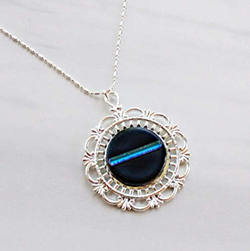 - THIN BLUE LINE Police Ladies Jewelry Pendant Necklace Dichroic Fused Glass Silver Plated Setting