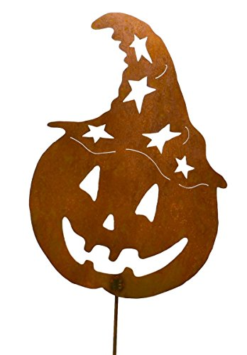 Jack-o-Lantern with Witch Hat Rustic Metal Yard Stake. Whimsical Halloween Decoration Idea. Handcrafted by Oregardenworks in the USA! -