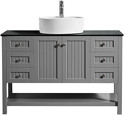 Vinnova 756048-GR-BG-NM Modena 48 Vanity In Grey with Glass Countertop with White Vessel Sink Without Mirror