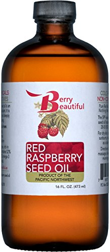 Red Raspberry Seed Oil - 16 Fl Oz (473 mL) in Glass Bottle - Cold Pressed by Berry Beautiful from locally grown Raspberries - 100% Pure & Unrefined