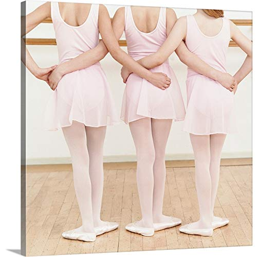 Canvas on Demand Premium Thick-Wrap Canvas Wall Art Print Entitled Rear View Three Young Ballet Dancers Standing in a Line 36