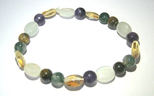 - CRYSTAL MIRACLE TIGERS EYE MOSS AGATE CITRINE MOONSTONE AMETHYST BEADED BRACELET CRYSTAL HEALING FASHION WICCA JEWELRY GIFT HEALTH WEALTH CHAKRA WELLNESS ENERGY HANDCRAFTED PEACE METAPHYSICAL GEMSTONE