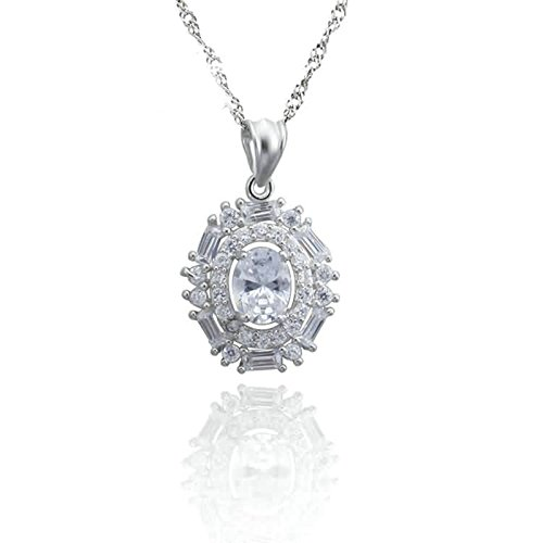 AMDXD Jewelry Women Silver Plated Pendant Necklaces Oval Crystal White (Nightmare Before Christmas Couples Necklace)