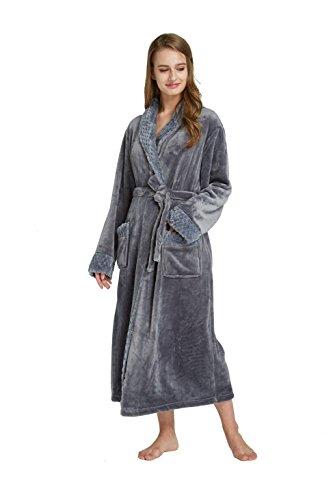 (TIMSOPHIA Women's Long Solid Color Fleece Robe, Soft Plush Microfiber Shawl Collar Bathrobe Women (Gray, Medium))