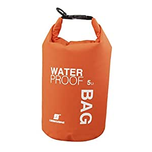 Waterproof Dry Bag Pouch for Camping Boating Kayaking Fishing Rafting Canoeing (Orange, 5L)