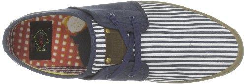 Fish 'N' Chips by Base London - Zapatillas de deporte de tela para hombre Azul (Bleu (Navy Stripe))