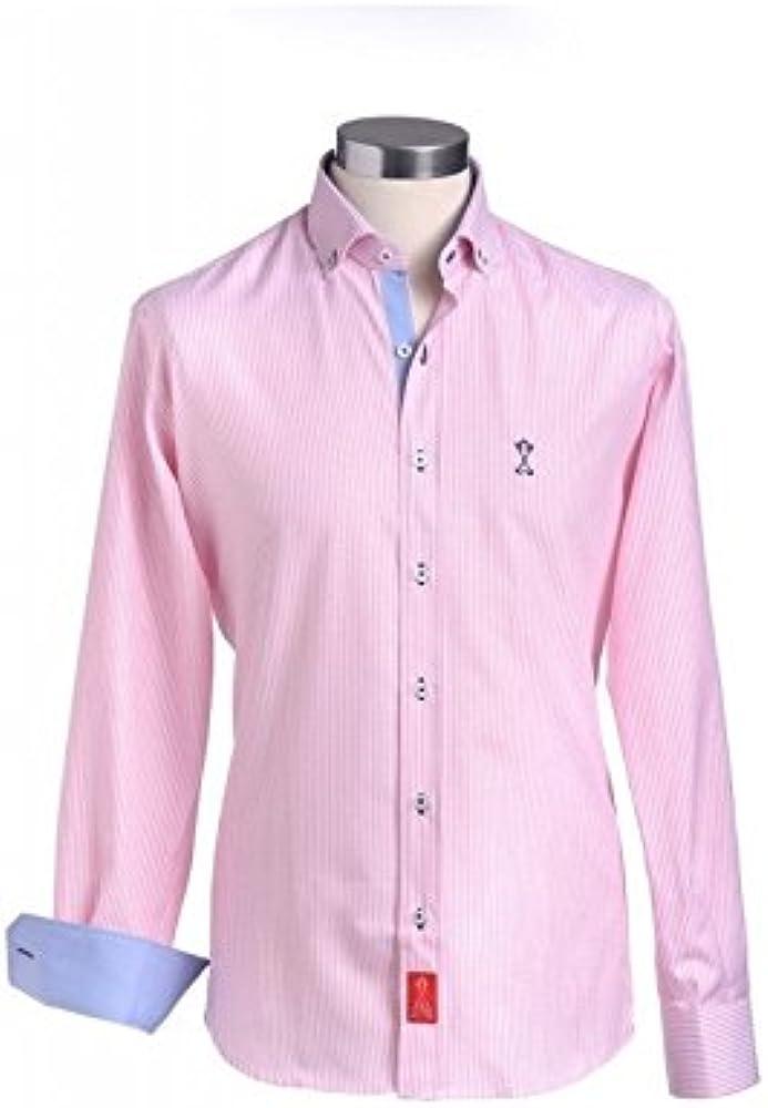 Camisa de Hombre Manga Larga Semi-Entallada, con Rayas de Color Rosa e Interiores Contrastados en Azul - 2_S, Rosa: Amazon.es: Ropa y accesorios