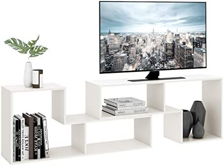 """DEVAISE TV Console Stand, Modern Entertainment Center Media Stand, TV Table Storage Bookcase Shelf for Living Room, 0.59"""" Thick, White"""