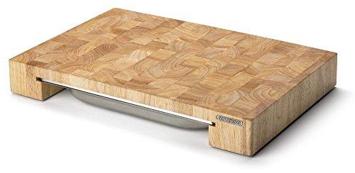 Continenta Profi Tranchierbrett, Edel-Schneidebrett aus Gummibaum Stirnholz Würfeln einzeln verleimt, mit Edelstahl Schublade, Größe: 48 x 32,5 x 6 cm