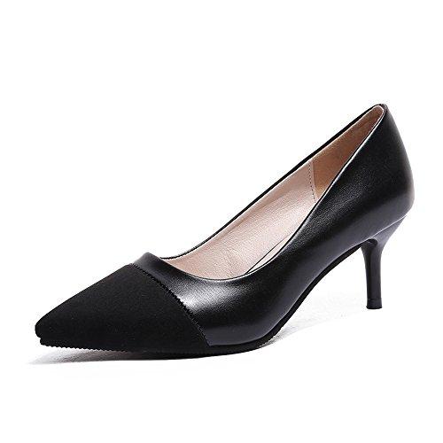 Femmes Talons Hauts Pu Scrub Sexy Mode De La Bouche Peu Profonde Pointe Talons Aiguilles D'honneur Chaussures De Mariée Chaussures De Mariage Pompes Talon Noir Haut 3,5 Cm,L