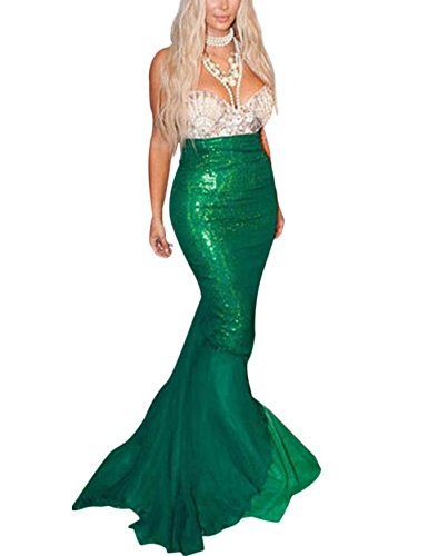Eshion Women's Sexy Mermaid Tail Skirt Sequins Asymmetrical Fish Tail Maxi Skirt (US S(6), (Mermaid Costumes Plus Size)