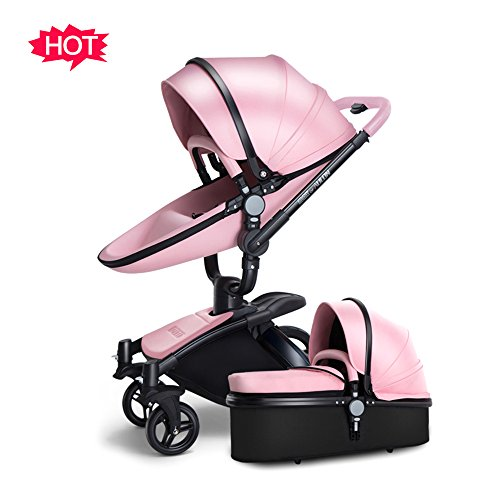 SpringBuds Infant Anti-shock Stroller Baby Pram Bassinet with Reclining Seat Combo-Pink