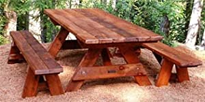 Charming Forever 8 Foot Young Redwood Picnic Table With 2 Benches