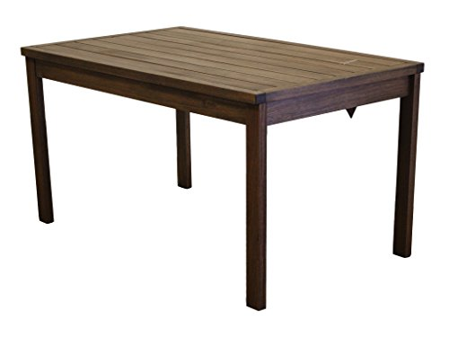 Timbo Mestra Hardwood Outdoor Patio Rectangular Dining Table, Table, Brown (Outdoor Hardwood Table)