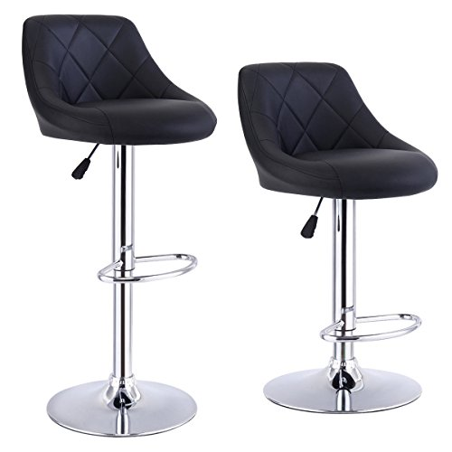 Costway Set Of 2 Adjustable Bar Stools PU Leather Modern Swivel Hydraulic Chrome Chair Dining Counter Chair (Black)