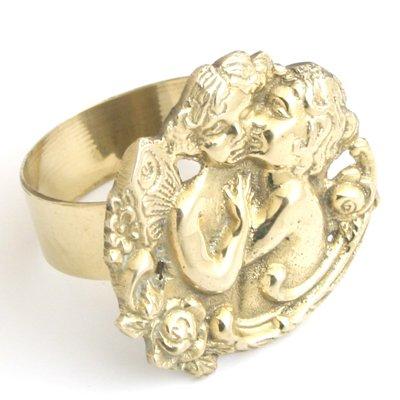 (Angel Napkin Ring. Solid Brass, Cherub. - Set of 6)