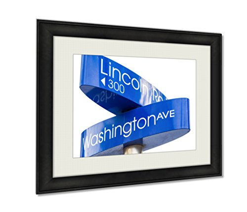 Ashley Framed Prints, Street Sign Marking Directions To Lincoln Road Miami, Wall Art Decor Giclee Photo Print In Black Wood Frame, Ready to hang, 16x20 Art, AG6433675 (Mall The Boulevard Directions To)