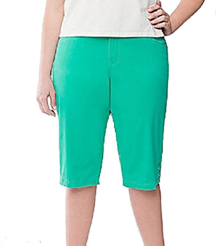 Lane Bryant Twill Pedal Pusher Capris with Tighter Tummy Technology, Spring Green (28W) from Lane Bryant