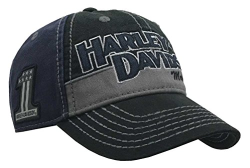 Harley-Davidson Men's Block H-D Name Baseball Cap BC10389 Blue (Harley Ball Cap)