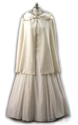 Ivory Wool Short Cloak for Winter Weddings, Made in USA by Carpatina - Renaissance Fashions