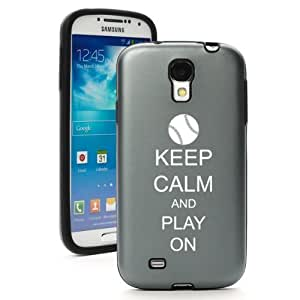 Silver Gray Samsung Galaxy S4 S IV i9500 Aluminum & Silicone Hard Back Case Cover KA884 Keep Calm and Play On Baseball Softball