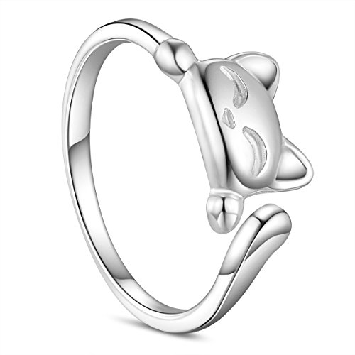 SHEGRACE Women's 925 Sterling Silver Rings, Cute Cat Design Opening Finger Ring, Lovely Kitty Ring (Silver)