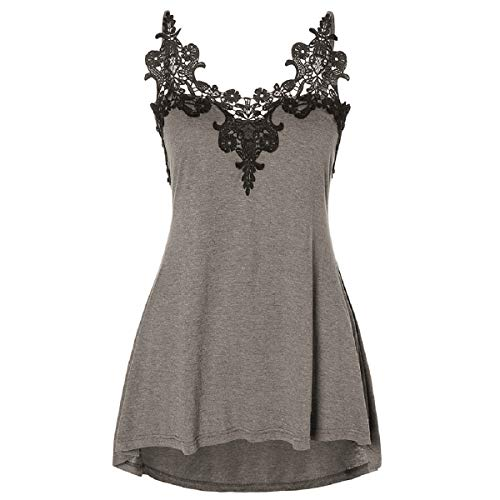 Tops for Women LJSGB Ladies Plus Size Top Ladies Lace Tops Ladies Strappy Top Ladies Halter Tops Bluses Gray