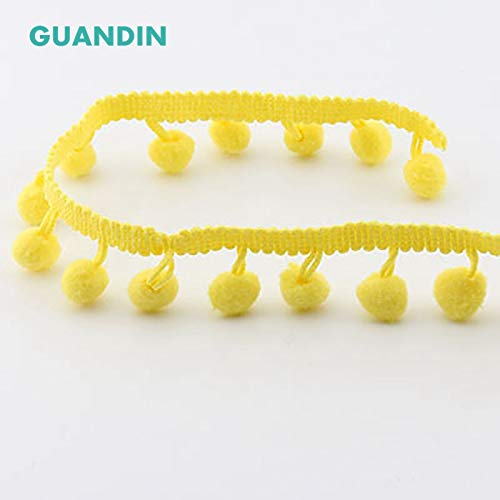 Shoppy Star GUANDIN HB004-1Y Colored Plush Ball Lace Decoration Small pom-pom Tassel Lace DIY Decorative Side Clothing Luggage Curtain Accessories