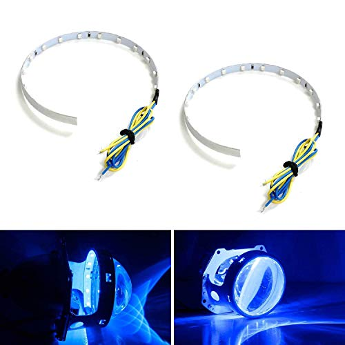 iJDMTOY Ultra Blue 15-SMD High Power LED Demon Eye Halo Ring Kit for Car Motorcycle Headlight Projectors or Aftermarket 2.5