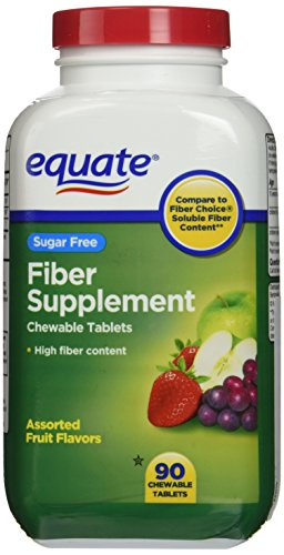 Equate Sugar Free Fiber Supplement, 90 Chewable Tablets (Compare to Fiber Choice)