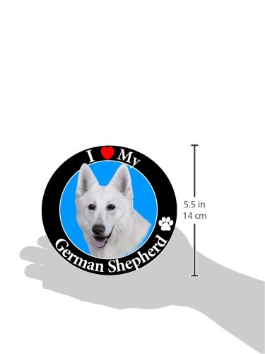 I-Love-My-German-Shepherd-White-Car-Magnet-With-Realistic-Looking-German-Shepherd-Photograph-In-The-Center-Covered-In-UV-Gloss-For-Weather-and-Fading-Protection-Circle-Shaped-Magnet-Measures-525-Inche