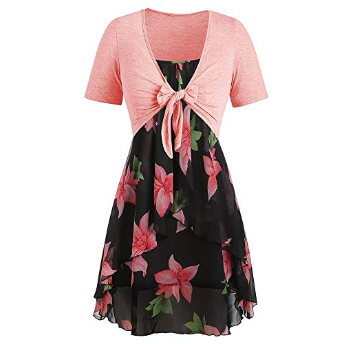 KCatsy Plus Size Spaghetti Strap Dress with Coat Floral Print Black