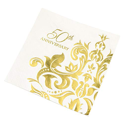 Crisky 50th Wedding Anniversaray Cocktail Napkins, [ Gold Foil More Shiny More Elegant ] Golden Wedding Anniversary Beverage Napkins, 50th Wedding Anniversary Party Decorations 100 Pcs, 3-ply