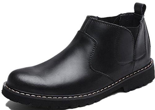 Black Jackdaine Boots Fashion Men's Velvet Plus Men's Leather Boots Round Martin Shoes Boots Retro P1aPZr