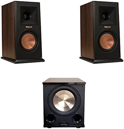 Klipsch 2 RP-150M Walnut Monitor Speakers, 1 BIC Acoustech Platinum Series PL-200 II Subwoofer