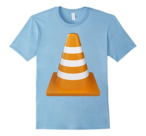Mens Orange Traffic Cone T-Shirt Construction theme party 2XL Baby Blue