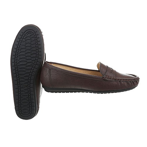 Ital-Design Chaussures Femme Mocassins Plat Mocassins Marron Pointure 41