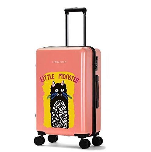ファッショントロリーケースユニバーサルホイール漫画スーツケースかわいいプリントギフトスーツケース (Color : ピンク, Size : L)   B07MQTJQ1T