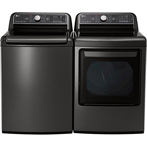 LG- POWER PAIR-Mega Capacity HE Top Load Laundry System with Steam and ELECTRIC Dryer with Innovative Easy-Load Door (WT7600HKA+DLEX7600KE) in Alluring Black Stainless Finish