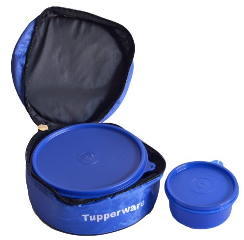 Tupperware Classic Plastic Lunch Box with Bag, 2 Pieces, Blue