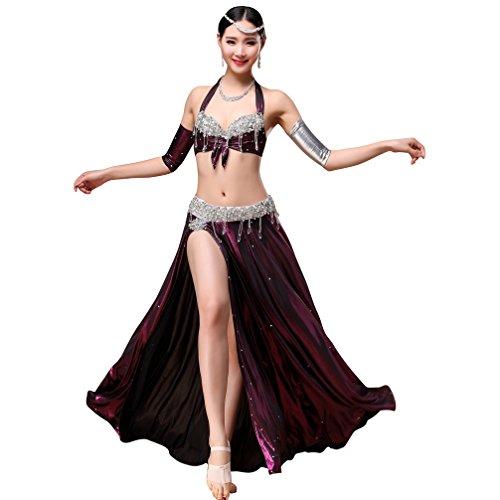 a84c6ed72591b Cristal Du Robe Costume Jupe Pour Wqwlf s Femme Professionnel gorge Purple  De Danse Ventre Tenue ...